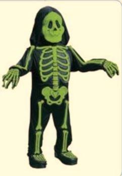 Nick and Ben Kostüm Set Kinder 3D Skelett Leuchtend Maske Handschuhe Grün 4-6 Jahre