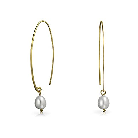 Gold Plated 925 Silver White Freshwater Cultured Pearl Threader Earrings