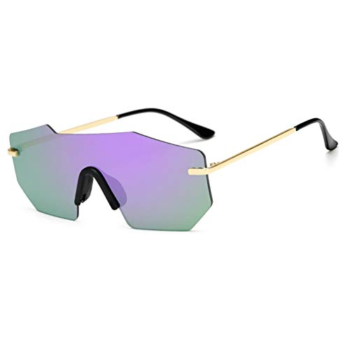 SYQA Sonnenbrille Heißer Sommer Frauen Männer Unregelmäßige Platz Sonnenbrille Weibliche Randlose Designer Farbverlauf Lila Klassen Brillen Uv400,C6