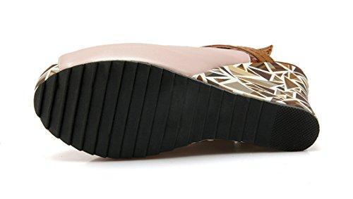 UH Femmes Sandales à Talons Haut Compensé avec Plateforme Conforts et Chic Slingback Peep Toe avec Boucles Rose