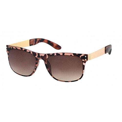 Chic-Net Sonnenbrille Animal Print 400 UV Nerd Punkte Metallbügel Wayfarer getönt braun