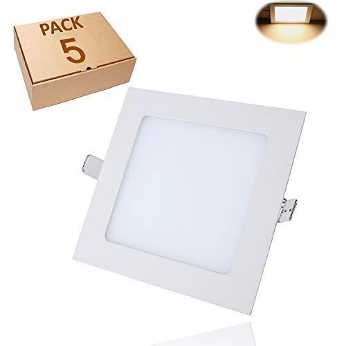 Yafido Panel Led Plafon Techo 12W Superficie Downlight Cuadrado Ultradelgado Blanco cálido...