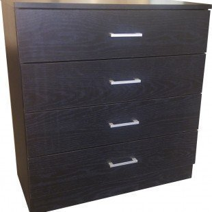 Home Treats Black Chest of 4 Drawers With Anti-Bowing Support. White, Black, Beech (Black)