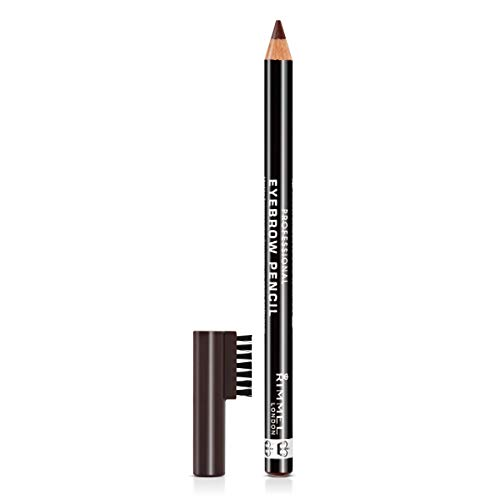 229aaaab6ede Rimmel London Professional Eyebrow Pencil, Defining Non-Sticky Formula for  Perfect Groomed Finish, Dark Brown, 1.4 g