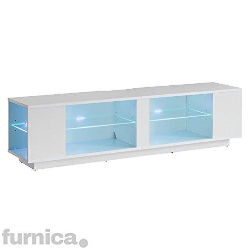 FURNICA TV Möbel Lowboard, 160x35x36cm, Weiß Hochglanz + Mehrfarbig LED