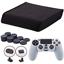 9CDeer Soft Neoprene Dirt Dust Protective Cover Black for PS4 PRO Horizontal Version + 1 Piece Controller Silicone Cover Skin clear white + 2 Pieces Controller Dust Proof Plugs + 8 Pieces Thumb Grips from 9CDeer
