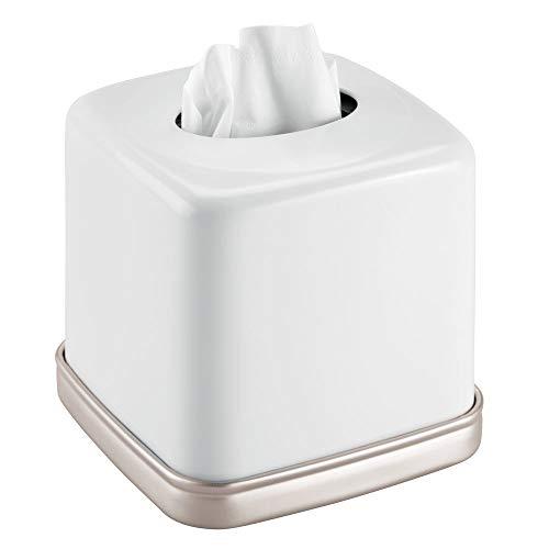 mDesign Fundas para cajas de pañuelos de metal - Práctico dispensador de pañuelos para el baño o la oficina - Modernas cajas para pañuelos de papel ideales como fundas - blanco mate/plateado mate