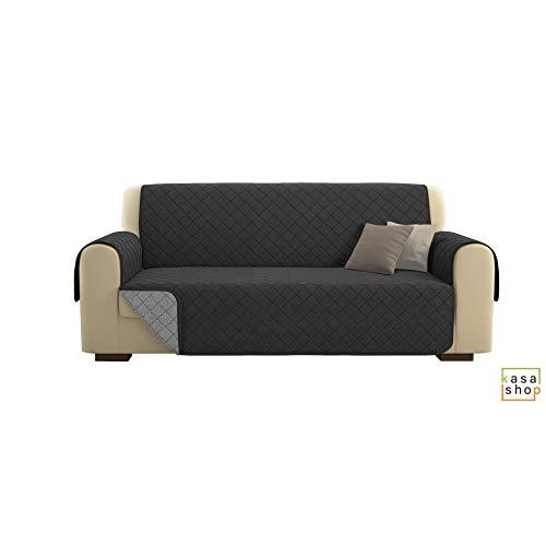 Kasashop copridivano/salvadivano deluxe imbottito, reversibile doubleface copertura divano (grigio, divano 3 posti)
