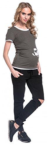 Happy Mama. Pantalon Jogging Grossesse Genoux Déchirés Poches Taille Basse. 661p Noir