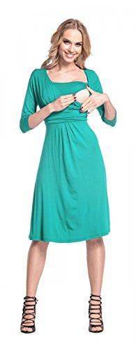 Happy Mama Femme. Robe patineuse maternité d'allaitement. Manches 3/4. 526p Sarcelle