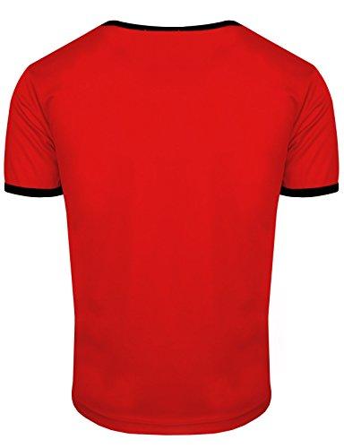 BCPOLO Männer Casual CoolMax Fabric Rundhals Kurzarm T-Shirt tägliche Abnutzung Rot