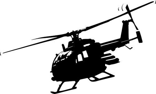 Autoaufkleber: Helikopter Bölkow BO 105 - PAH 1; Kampfhubschrauber, Hubschrauber, Fliegen, Pilot, Bundeswehr // KFZ-Aufkleber - Wetterfest // verschiedene Farben und Größen (Schwarz - 200 mm x 120 mm)
