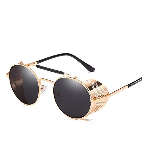 Unisex Gläser Outdoor Retro Steampunk Sonnenbrille igen Schutz vor UV-StrahlenUltra Leicht Metall Rahme Winddicht Brille (Reisen Golf Angeln Party Freizeit),01