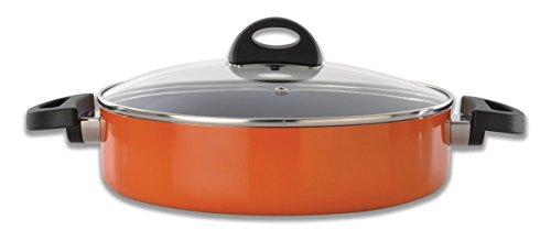 BergHOFF 3700161 Doppelgriffbratpfanne mit Deckel, Gezogene Aluminium, orange, 29,5 x 34,5 x 6,5 cm