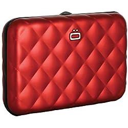 Ögon QB-Red Tarjetero Quilted Button Cartera de Aluminio Anodizado Cerradura de Metal Rojo