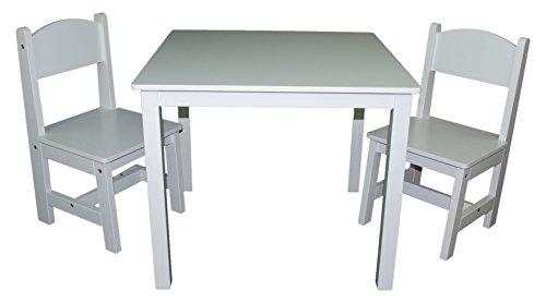 habeig 8751253 Kindertisch und 2X Kinderstuhl, Möbel Sitzgruppe, weiß