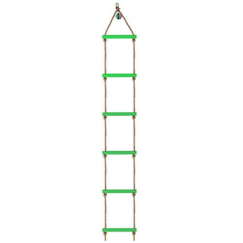 Pellor 6 Leitersprosse Kunststoff Kinder Kletterseil Leiter Sport Training Klettern Swing Klettergerüst, Belastbar Bis 120kg (Grün mit 6 Stufen)