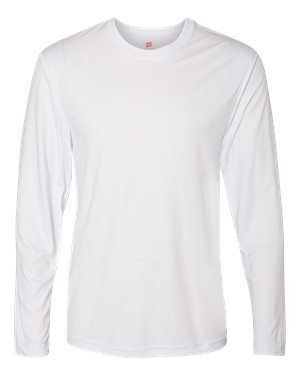 Hanes 482L Adult Cool DRI Long Sleeve Performance Tee, White - Large