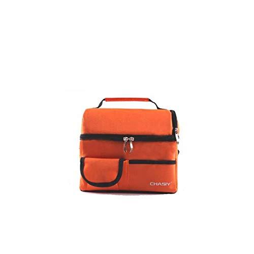DYTJ-Lunchbox Bento Box Brotdose Dickes, Zweilagiges, Mittelgroßes Isolier-Mahlzeitenset, Picknicktasche Für Die Reise, Lunch-Tasche Mit Mehreren Taschen (Farbe: Blau), Orange (Bento-lunch-box Mit Träger)