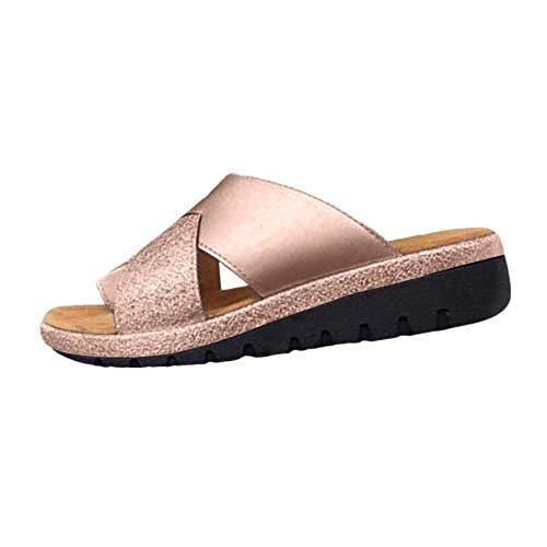 2019 Sandalias Mujer Chanclas Tacon del Verano Zapatos Bohemias Cómodos Sandalias Planas Zapatos de Viaje de Playa Verano Zoelove