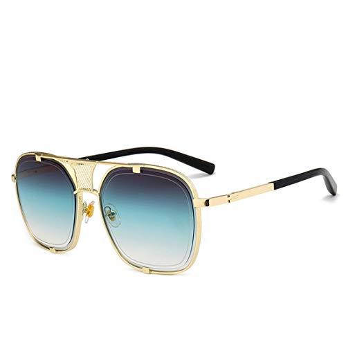 Yiph-Sunglass Sonnenbrillen Mode Retro-Stil Metall umrandeten Sonnenbrillen für Frauen Männer UV-Schutz. (Farbe : Grün)