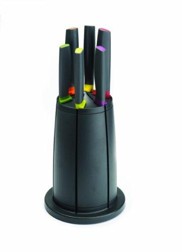 Joseph Joseph - Elevate - Set de 6 Couteaux de Cuisine avec Porte Couteaux Rotatif - Multicolore