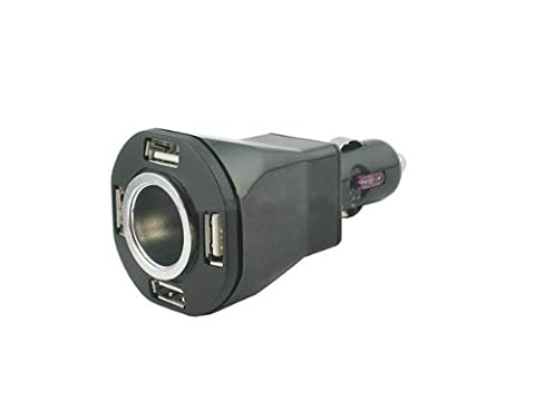 System-S Universal 5 in 1 KFZ Auto Netzteil Ladegerät Lade Adapter 4x USB 1x Zigarettenanzünder-Stecker für Handy Navi GPS Smartphone Tablet PC Ebook