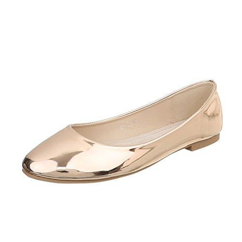Ital-Design Klassische Ballerinas Damen-Schuhe Blockabsatz Gold Rosa, Gr 41, Od-50-