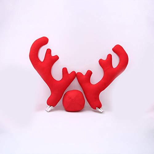 New Design Kreative Weihnachten Auto Auto Kostüm Dekoration voller Satz mit 2 Antlers 1 Ren-Nasen-2 Mirrow Covers (rot)