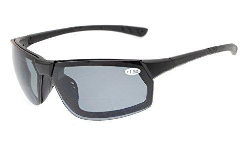 Gr8Sight Sun Leser Polarisierte Bifokale Lesen Sonnenbrille Getönte Gläser Herren Umlaufender Designer-stil Sport UV 400 Schutz Matte Schwarzer Rahmen Grau Objektiv +1.50