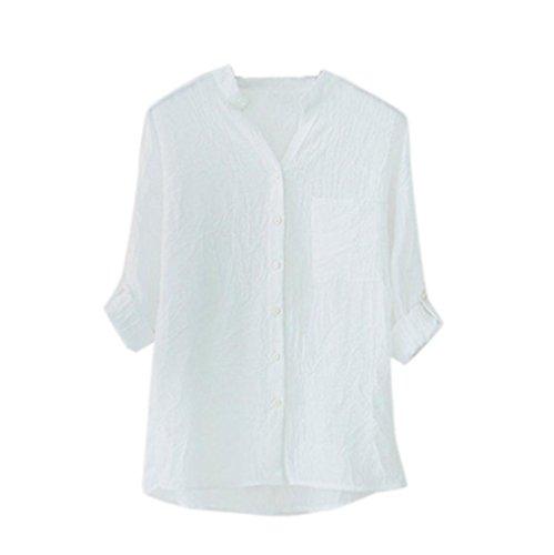 Chemisier printemps automne,Femmes automne printemps longue manche Chemisier Femmes coton manches longues chemise bouton chemisier lâche coton T-Shirt by LHWY (XXL, Bleu) Blanc