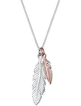 Elli Damen Schmuck Echtschmuck Halskette Kette Anhänger Feder Bi Color Tri Boho Multipendants Sterling Silber...