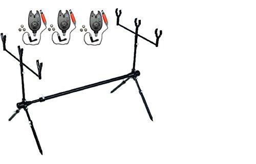 JENZI Rod Pod Set –Juego para 3cañas con avisador, Buzzer-Bars, Banksticksm caña de pescar y funda