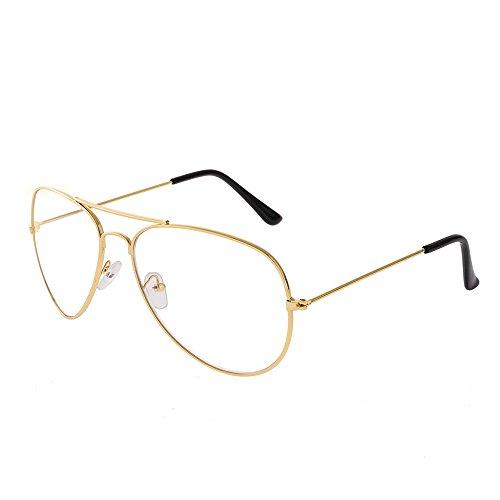 Forepin® Montura Gafas de Aviador (Oro) para Unisex Hombre y Mujer con Montura de Metal-acero Fino Retro Vintage Lente Transparente Visión Clara