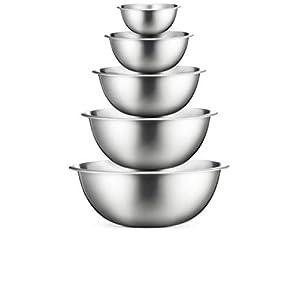 Profiqualität edelstahl schüssel set 5-teilig - Gourmet rührschüssel, stabiler Boden Küche Schüsseln, stapelbar Rührschüssel, Salatschüssel, Leicht zu reinigender spülmaschinengeeignet Servierschüssel