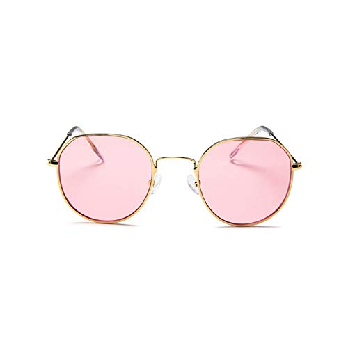 CHOULI Large Frame Sunglasses Korean Fashion Glasses Transparent Retro Sunglasses Gold-Pink