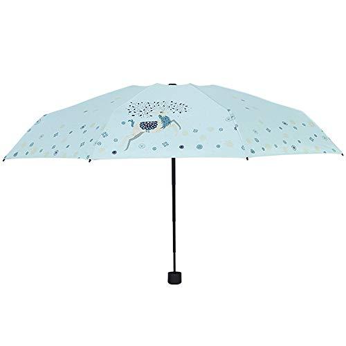 LYJZH Reiseregenschirm - Kompakter windfester Regenschirm - sehr leichtes und faltbares Design Ultraleichter, kräftiger und windbeständiger 8-Knochen-Fünffach-Regenschirm in 96 cm Farbe -