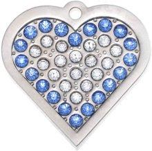 Personalizzata medaglietta per animali domestici a forma di cuore con cristalli swarovski in blu (piccolo) | servizio d'incisione | medaglietta identificativa per cani e gatti personalizzata