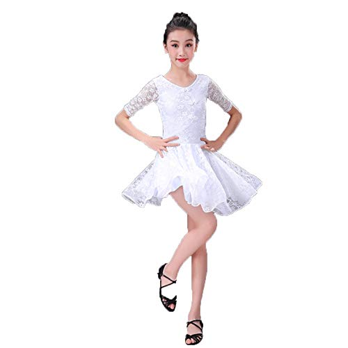 HUO FEI NIAO Latin Dance Costumes - High-End-Kostüme für Damen (Color : White, Size : M)