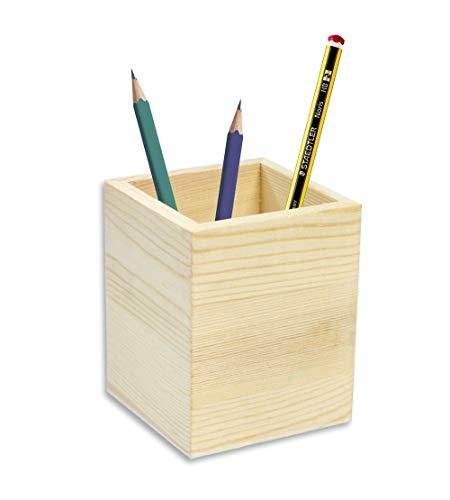 Vetrineinrete® portapenne quadrato in legno da scrivania portaoggetti organizer contenitore per cancelleria personalizzabile per decoupage pittura porta penna da casa ufficio g6