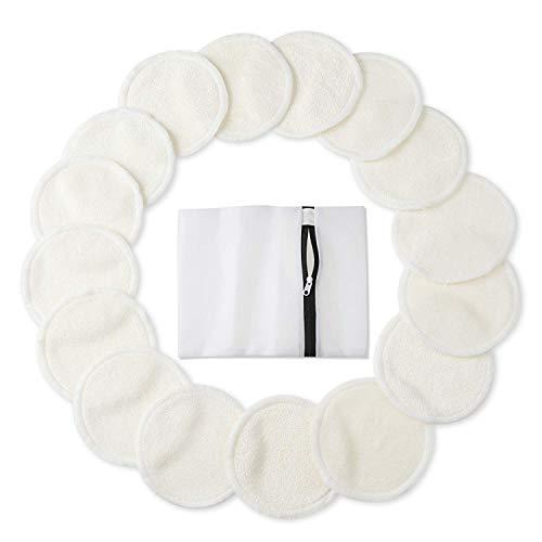 Waschbare Abschminkpads (16 Stück), Bambus Make-up Entferner Pads, Wiederverwendbare Bio Bambus Baumwolle Runden mit Wäschesack, Waschbar Gesichtsreinigungstücher- Weiß - Bio-make-up Entferner