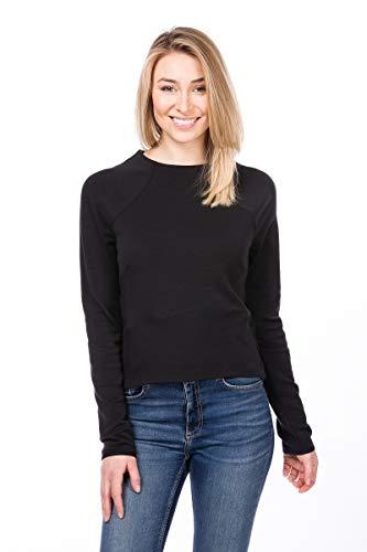 super.natural Bequemes Damen Langarm-Shirt, Mit Merinowolle, W SUPER CROP SWEATER, Größe: M, Farbe: Schwarz