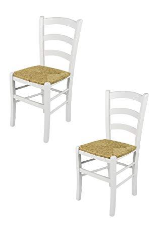 Tommychairs - set 2 sedie classiche venezia per cucina, bar e sala da pranzo, con robusta struttura in legno di faggio verniciata laccata bianca e con seduta in paglia