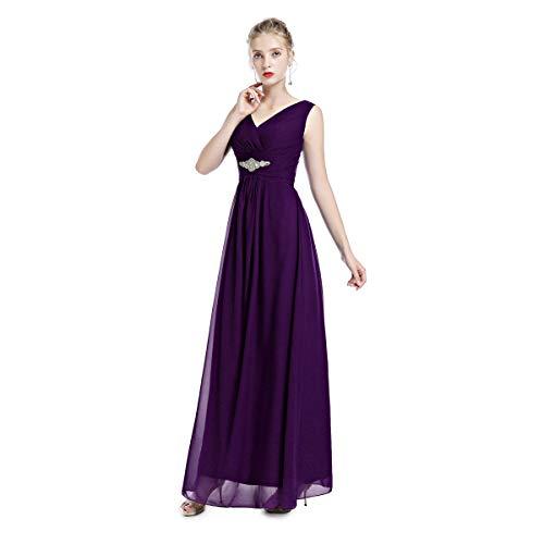 Damen Formal Chiffon Falten Lange Brautjungfernkleider Ärmellos V-Ausschnitt Abendkleid Festlich...