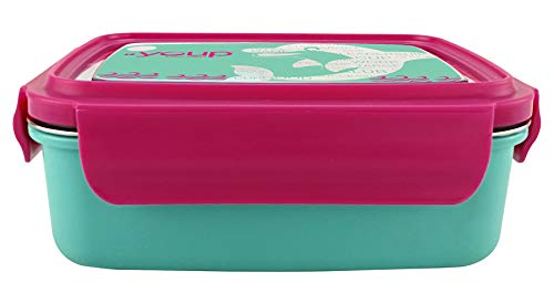 Youp Stainless Steel Turquiose Blue and Pink Color Kids Lunch Box YP8001-800 ml
