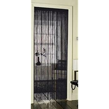 Black String Glossy Door Curtain with Silky Satin Effect Header 90x200cm