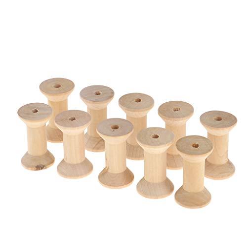 B Blesiya 10 Stück Leere Holzspule für Draht Spulen Faden Spule aus Holz - B, 3 x 5 cm