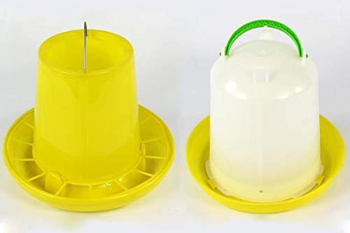 Geflügeltränke 7,5 Liter und Futterautomat 10 kg Tränke Stülptränke Futterspender Geflügel Wachteln Huhn Hühner
