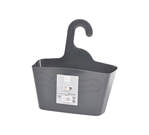 Douceur d'Intérieur - Cestino per doccia, da appendere, in plastica, 23,5 x 8,5 x 25,5 cm grigio