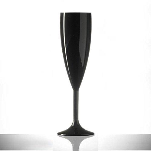 Lot de 12 flûtes de champagne en plastique polycarbonate noir de 187 ml - Qualité alimentaire - À réutiliser des centaines de fois - Rigides, pratiquement incassables